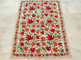 customized handmade rugs embroidered wool floor rug red discovered