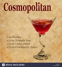 cosmopolitan drink old vintage or grunge recipe notebook with cosmopolitan cocktail