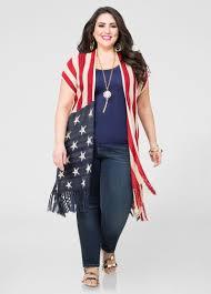 Model American Flag American Flag Fringe Cardigan Plus Size Sweaters Ashley Stewart