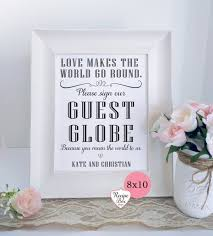 wedding guest book sign wedding guest globe world guest book map guestbook custom