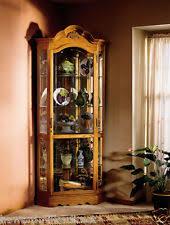 Oak Glazed Display Cabinet Corner Display Cabinet Ebay
