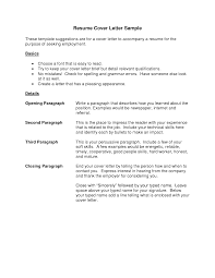 Example Resume Letter For Application