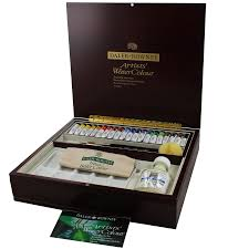 daler rowney artists wooden box set watercolour tube large