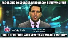 Seahawks Bandwagon Meme - according to sources bandwagon seahawks fans adam schefter espn
