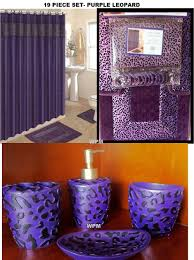 Leopard Print Shower Curtain by Amazon Com 19 Piece Bath Accessory Set Purple Leopard Bathroom