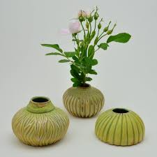 ikebana vase green carved ikebana vase willi eggerman ceramics