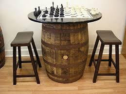 whiskey barrel bar table amazon com vintage whiskey barrel table black top w chess board