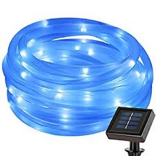 Solar Powered Rv Awning Lights Amazon Com Le Solar Power 16 5ft 50 Led String Lights Blue