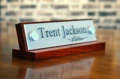 custom office desk signs desk name plate personalized office plaque by customsignworks