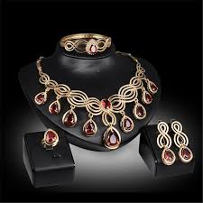 african jewelry necklace set images African jewelry sets gold color nigerian wedding for women red jpg