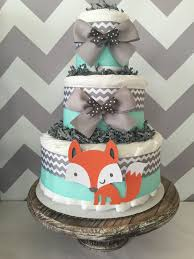 diper cake fox cake in mint grey and white woodland baby shower