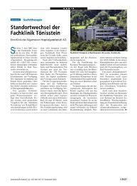 Klinik Bad Neuenahr Suchttherapie Standortwechsel Der Fachklinik Tönisstein