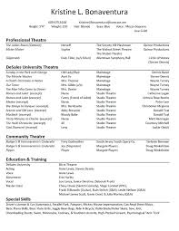musical theatre resume exles musical theatre resume template foodcity me
