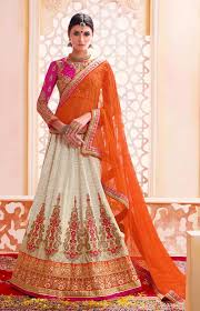 buy online designer indian bridal lehengas cream indian bridal