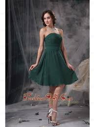 simple dark green a line strapless homecoming dress ruch chiffon