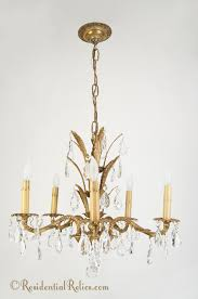 1950s Chandelier Century Spanish Cast Brass Crystal Chandelier Circa 1950s