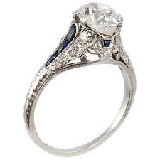 antique engagement ring 1 57 carat cushion cut sapphire platinum antique