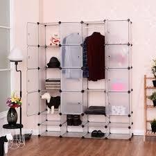 costway diy 16 8 cube portable clothes wardrobe cabinet closet