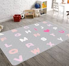 Gray And Pink Nursery Decor by Alphabet Nursery Nursery Rug Kids Rug Pink Nursery Rug