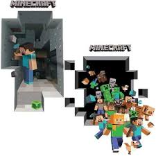 Minecraft Bedroom Decals by 2 Pack Minecraft Wall Decal Steve Mining Pig In Minecart