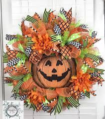 Halloween Wreaths Door Halloween Deco Mesh Wreath Jack O U0027lantern Halloween Decor