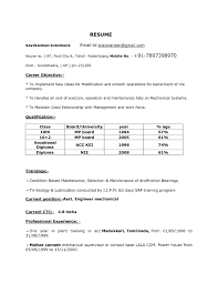 Mechanical Resume Samples For Freshers Sample Resume For Freshers In Mechanical Engineering Templates