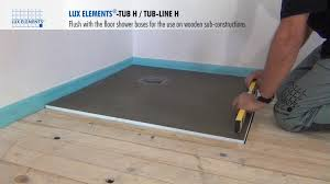 lux elements installation flush with the floor shower bases tub h