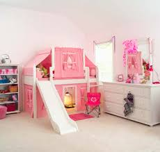 2 story playhouse low loft bed w slide by maxtrix kids pink