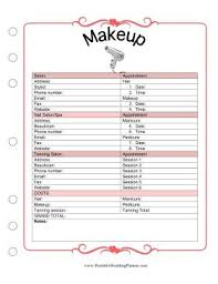 downloadable wedding planner the wedding planner makeup template covers appointment times and