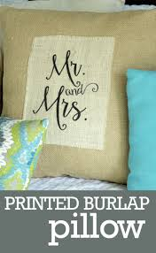 mr and mrs pillow printed burlap pillow diy mr and mrs wedding gift or home decor