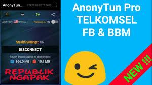 setting anonytun pro dengan kuota fb dan bbm anonytun pro telkomsel fb bbm youtube