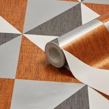 B Q Paint Colour Chart Bedrooms Colours Mosaic Copper Navy U0026 Pewter Geometric Metallic Wallpaper