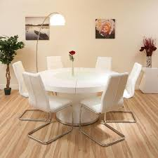 large round dining set white gloss table plus 6 white chairs lazy
