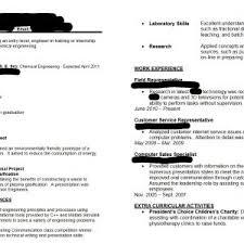 chemical engineering internship cv resume examples chemical sles