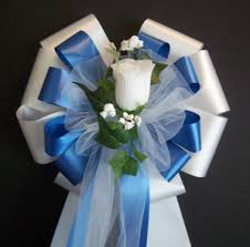 royal blue white ribbon with white rose pew by csisbridalboutique