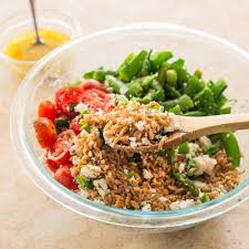 Thai Country Kitchen Farro Salad With Asparagus Sugar Snap Peas And Tomatoes