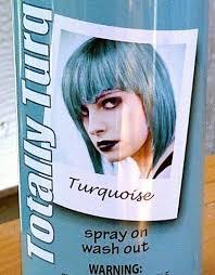 temporary hair color hairspray turquoise aqua ice blue sky colored