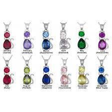 necklace with birthstones for sterling silver cat pendant birthstones cubic zirconia stones charm
