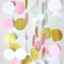pink garland pink and gold circle paper garland banner 9ft on sale from