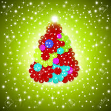 pretty christmas card greeting fun colors tree made of daisies