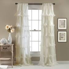 Sheer Ruffled Curtains Lush Decor Nerina Ruffled Microfiber Curtain Panel In Pink As Is