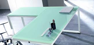 bureau verre blanc artdesign bureaux design avec plateaux mélaminéhêtre ou blanc uni