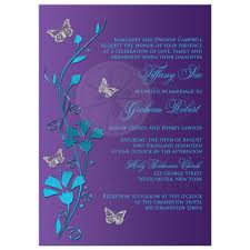 Purple And Silver Wedding Invitations Wedding Invitation Turquoise Blue Purple Silver Flowers