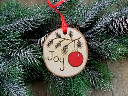 wood burned birch slice ornament hand burned painted joy
