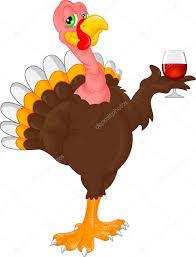 cute turkey bird cartoon holding wine u2014 stock vector