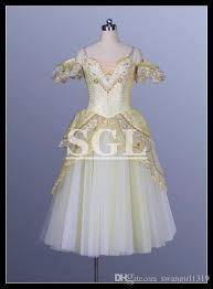 2018 gold color long dresses for ballet performance dance tutu