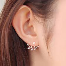 earrings app needle zircon stud earrings for women leaf golden silver ear