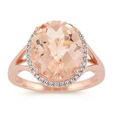 morganite ring gold oval morganite and diamond gold halo ring shane co