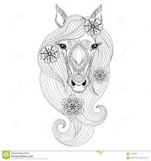 vector horse coloring page with horse face hand drawn patterne