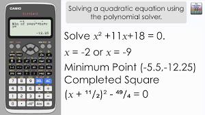 solve a quadratic equation using the classwiz polynomial solver casio fx 991ex fx 570ex calculator
